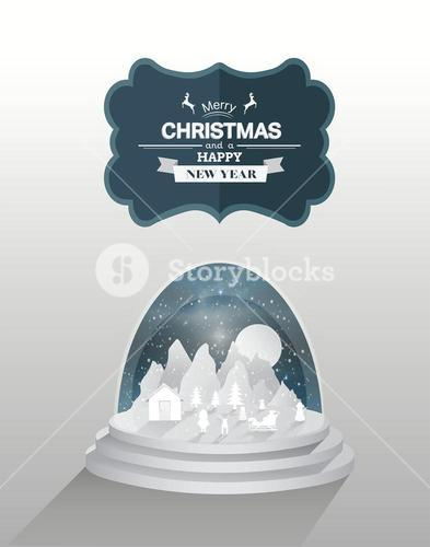 Christmas tableau in snow globe vector with message