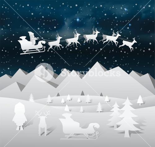 Christmas vector with flying santa and reindeer