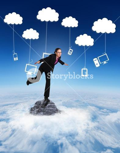 Composite image of businesswoman stepping and balancing