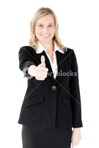 Positive businesswoman with thumb up