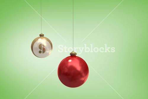 Composite image of digitally generated hanging christmas baubles