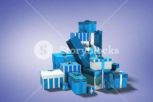 Composite image of blue and silver christmas gifts