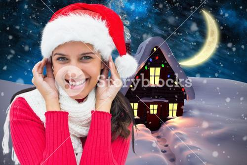 Composite image of festive brunette