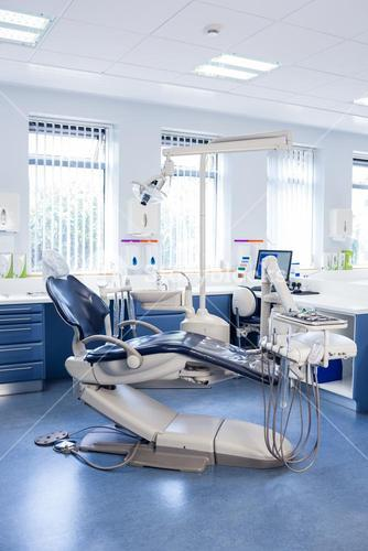 Inside of the clinic with dentists chairs, computer and tools