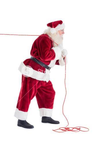 Santa pulls something with a rope