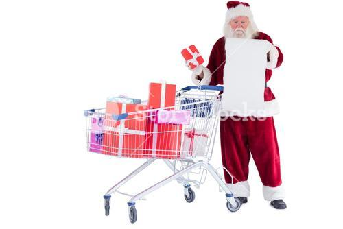Santa spread presents with shopping cart