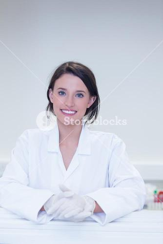 Happy biologist smiling at camera