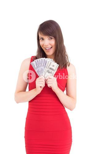 Woman is holding american dollars
