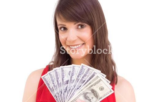 Brunette showing fan of dollars