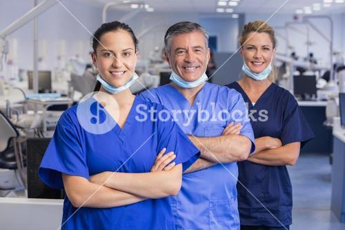 Portrait of smiling co-workers in a line with arms crossed