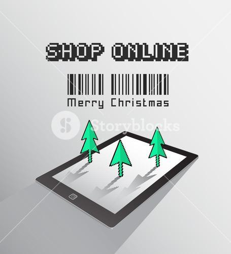 Shop online for christmas vector on tablet pc