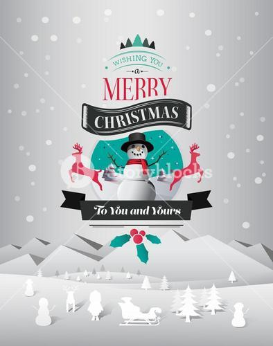 Christmas greeting message with illustrations vector