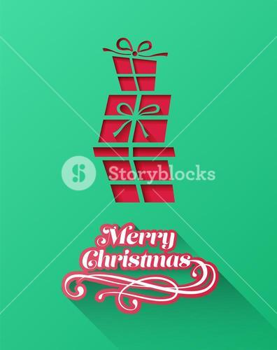 Christmas greeting message with stacked gifts
