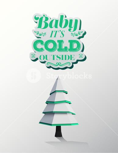 Baby its cold outside vector with cute tree illustration