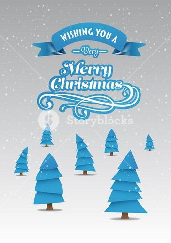 Merry christmas vector with cute tree illustrations