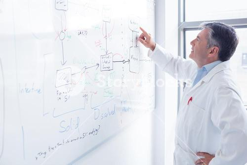 Focused scientist pointing equation on whiteboard