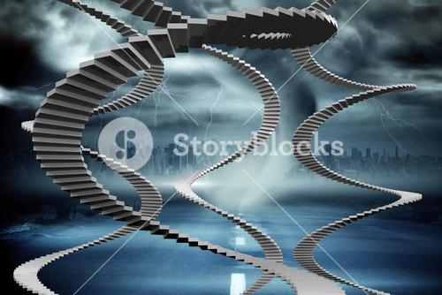 Composite image of winding stairs