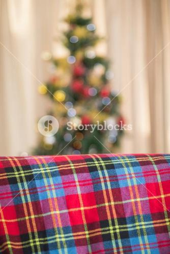 Warm blanket on the couch at christmas