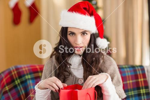Surprised brunette opening gift bag at chistmas