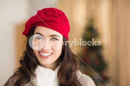 Portrait of a smiling brunette at christmas