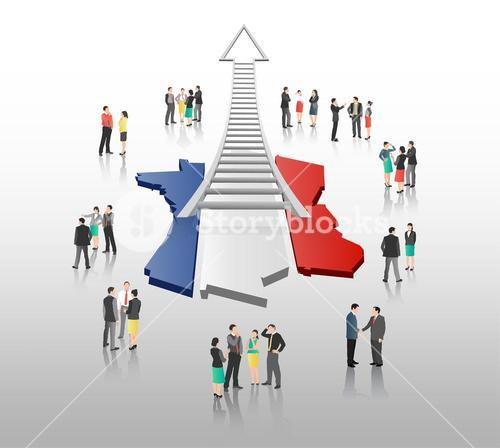 Business people standing with ladder arrow and french flag