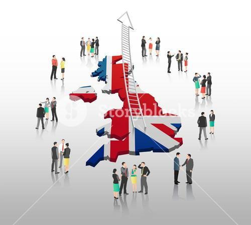 Business people standing with ladder arrow and british flag