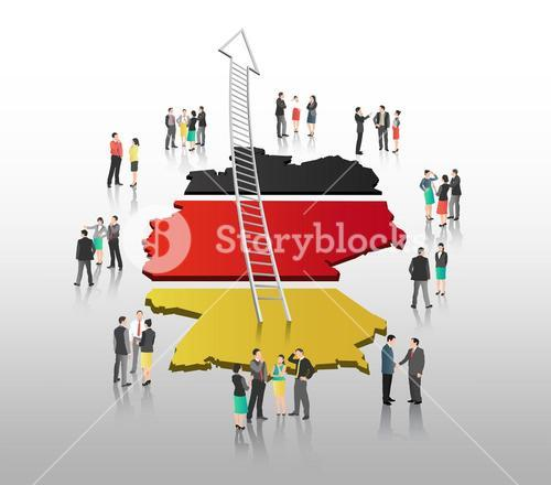 Business people standing with ladder arrow and german flag