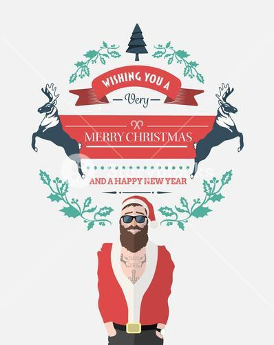 Hipster santa with christmas message