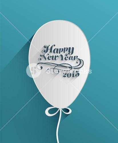 Happy new year message in balloon