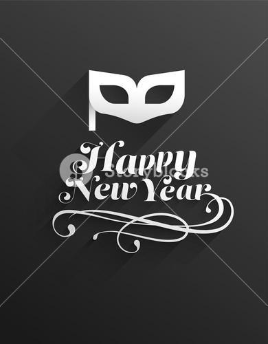 Happy new year message with masquerade mask