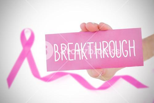 Composite image of young woman holding pink card