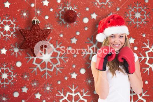Festive blonde with boxing gloves on