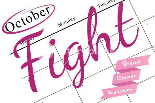 Breast cancer awareness message in pink
