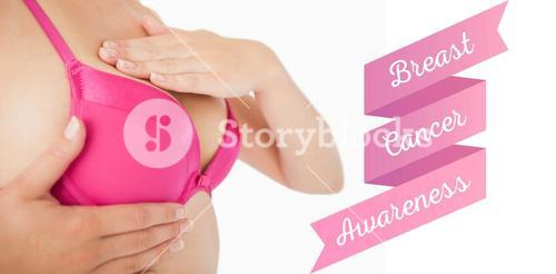 Composite image of closeup of woman performing self breast examination
