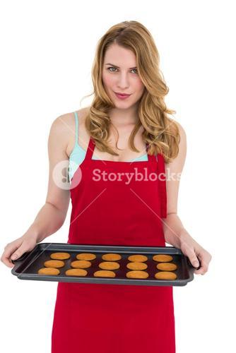 Pretty blonde showing hot cookies