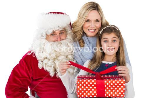 Mother and daughter with santa claus