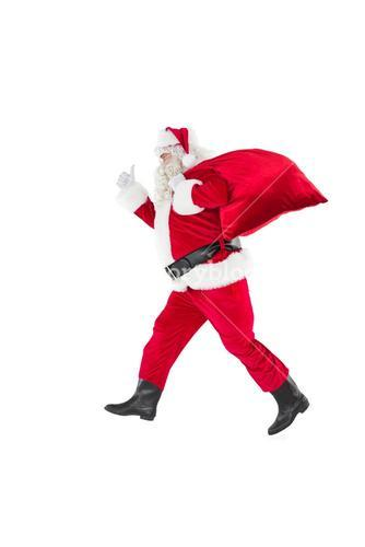 Positive santa with a sack and thumbs up