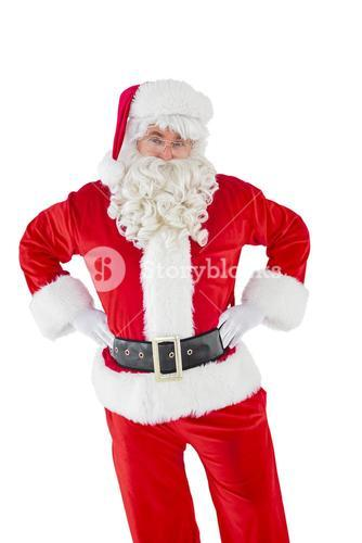 Cheerful santa claus with his hands on hips