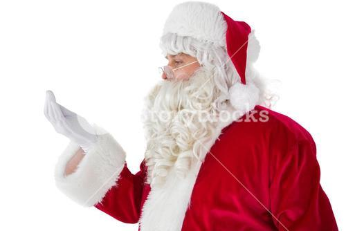 Father christmas with hand out