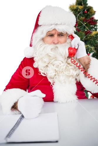 Annoyed santa claus on the phone