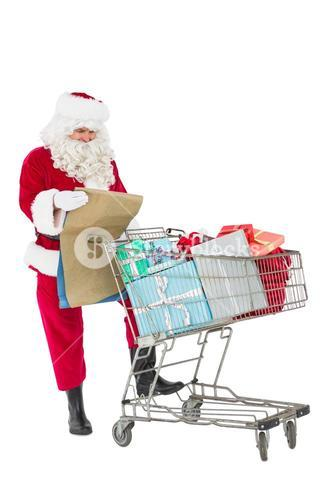 Santa delivering gifts with a trolley