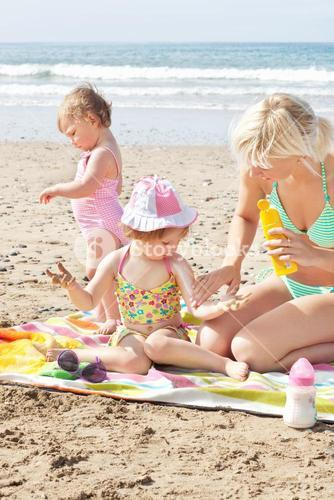 Positive family at the beach