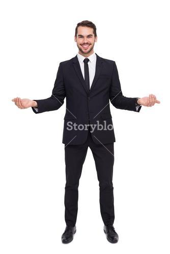 Happy businessman with his open hands