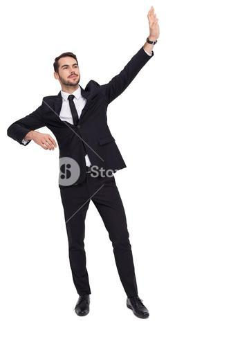 Cheerful businessman well dressed with arms out