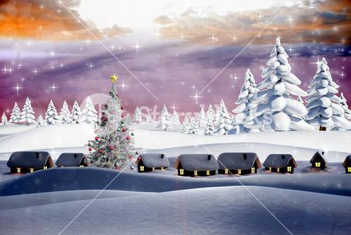 Composite image of snow covered village