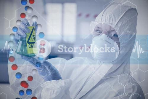 Composite image of scientist in protective suit with hazardous chemical in flask