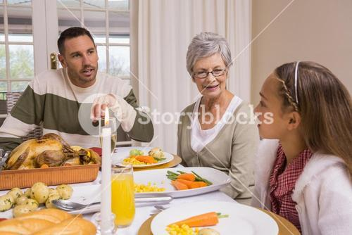 Extended family at the christmas dinner table