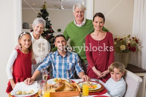 Smiling extended family looking at camera at christmas time