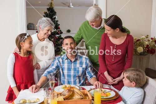 Happy extended family at christmas time