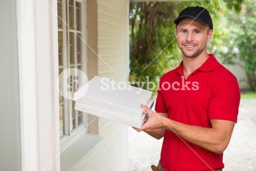 Pizza delivery man delivering pizzas